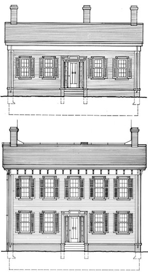 Lincoln Home, 1839 (top) and 1860 (bottom)