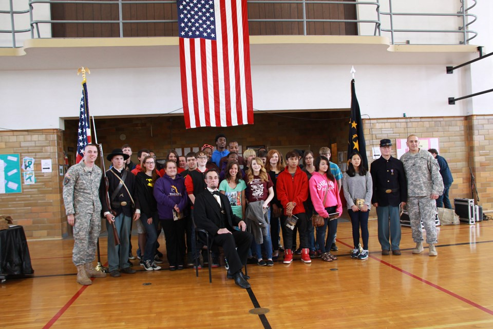 Journey-Home-Lincoln-with-students-and-national-guardsmen-in-Michigan-City-Indiana