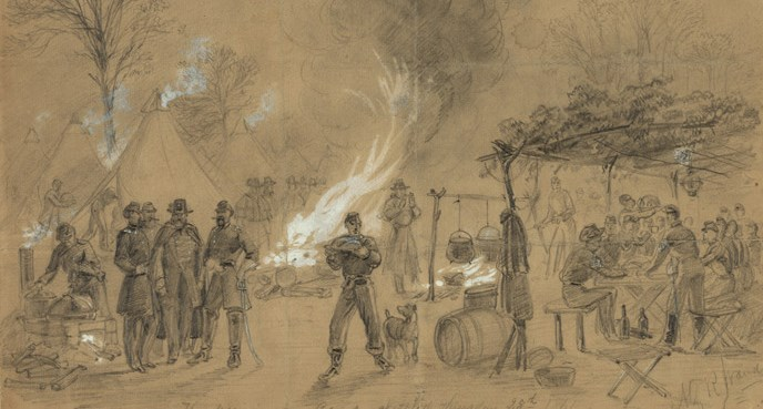 Civil War artist Alfred R. Waud sketched this Thanksgiving scene at a Civil War camp in 1861