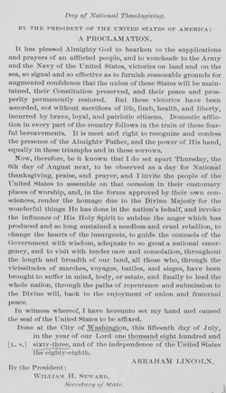 Lincoln's 1863 Thanksgiving Proclamation