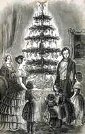 "Christmas tree from ""Godeys Lady's Book,"" 1850"