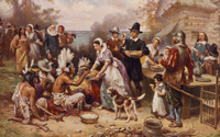 "Titled ""The First Thanksgiving 1621,"" this print was created in 1932"