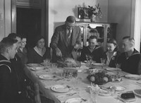 Thanksgiving 1942 with U.S. Navy members home for the holiday.