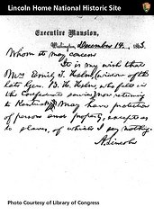 Presidential Pass - Handwritten letter from Abraham Lincoln to Emily Helm