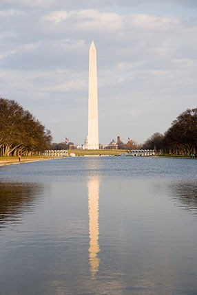 washington monument reflected in the pool