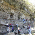 Hiking across the ledge on Eberhart Trail Courtesy of Jacksonville State University Field School