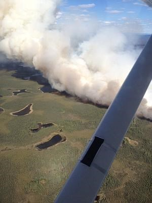 smoke viewed from a plane during the Chisana River 2 wildfire