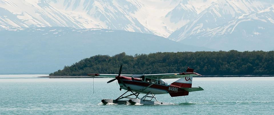 a float plane in the water at Katmai National Park