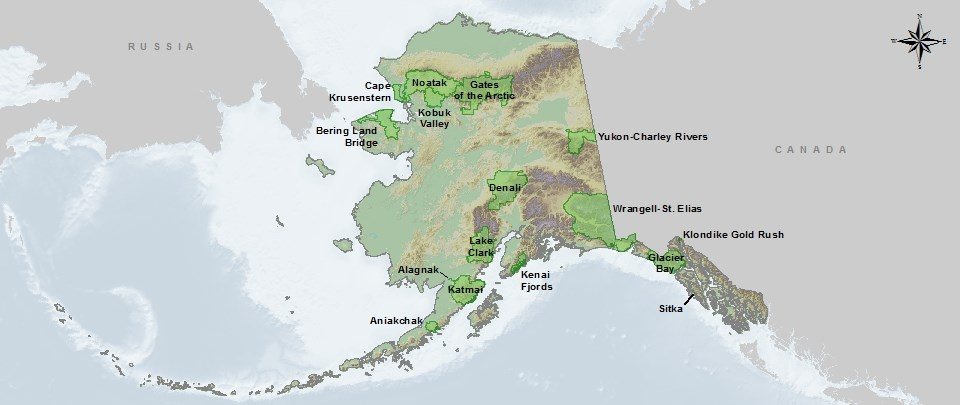 a map of National Parks in the State of Alaska