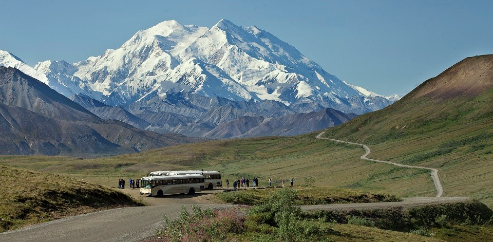 Tour buses parked at overlook of Denali Mountain