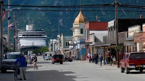 a photo of downtown skagway on a sunny day