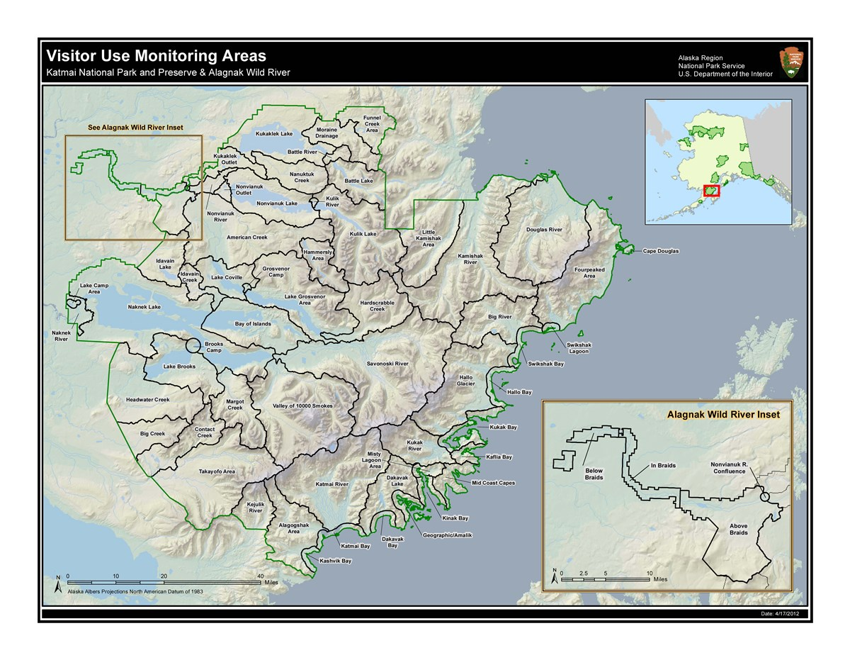 Katmai National Park and Preserve Visitor Use Monitoring Area Map