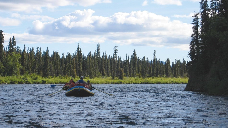 Two inflatable rafts with paddlers float down a spruce-lined river.