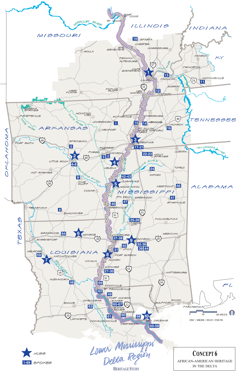 Map of African-American Heritage Sites in the Lower Mississippi Delta Region