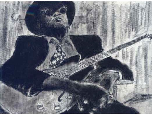 Charcoal artwork of John Lee Hooker by Mario Perez