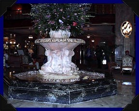 Fountain in the lobby of the Peabody Hotel