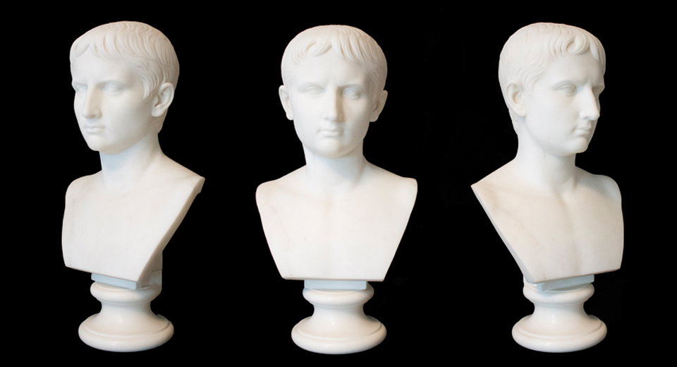 A marble bust of Augustus, once owned by Charles Sumner.