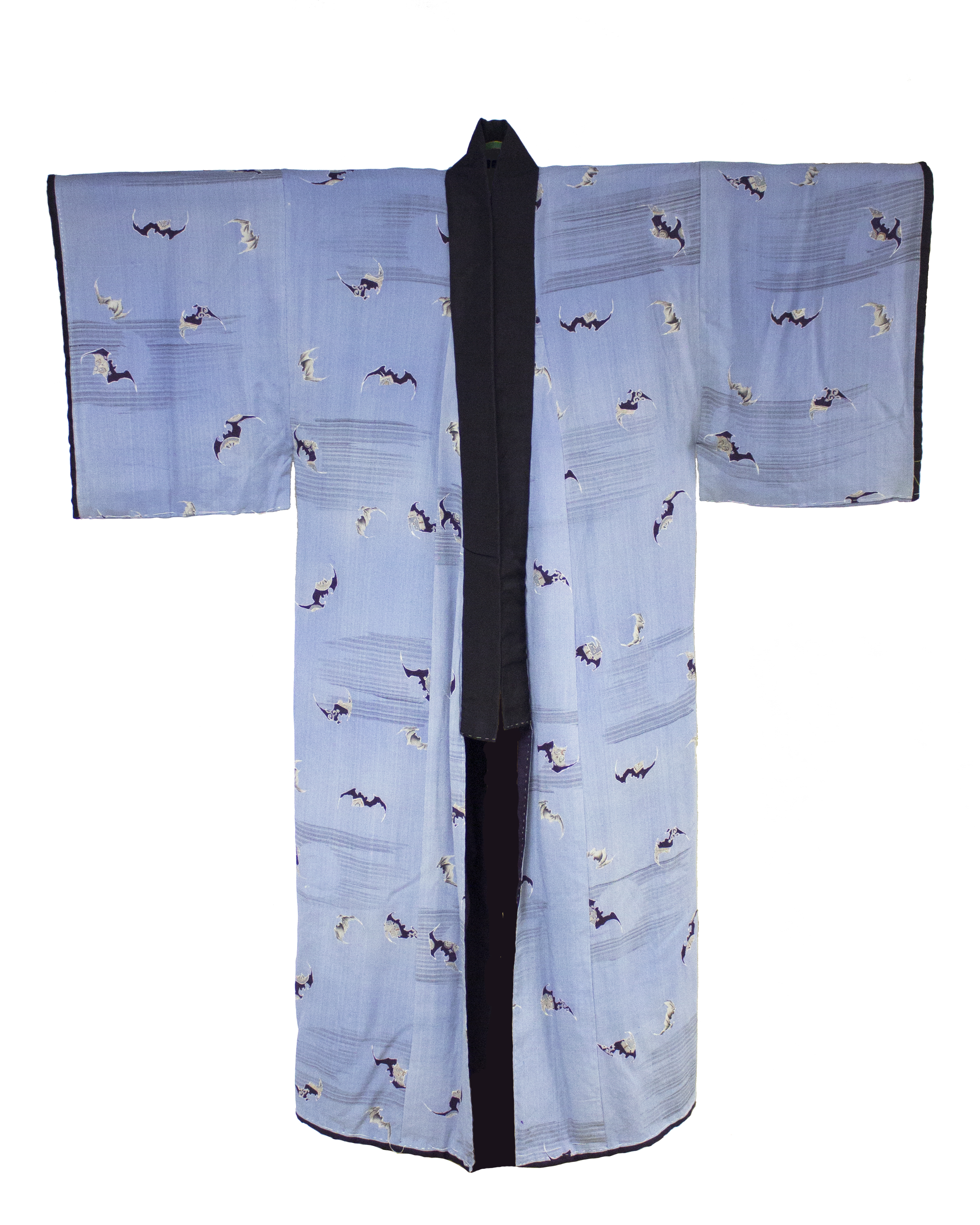 A Meiji-era kimono, decorated with bats, that belonged to Charles Longfellow.