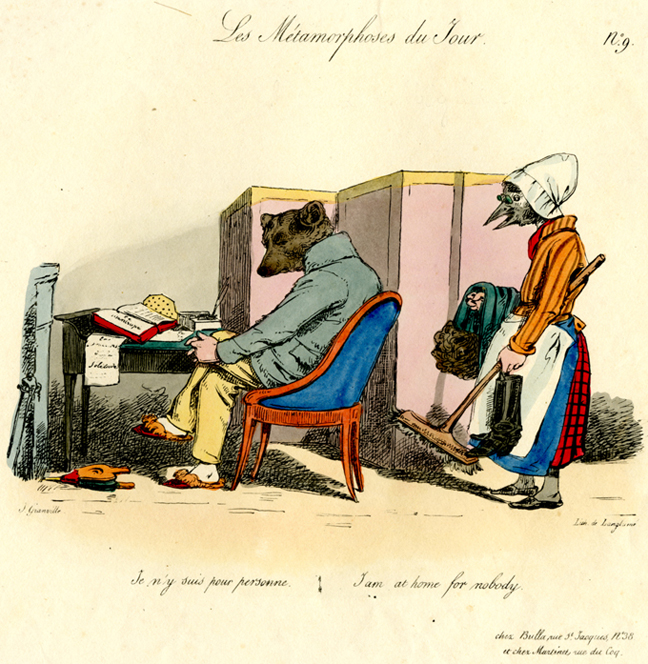 A hand colored lithograph from French caricaturist J.J. Grandville's 1829 work La Metamorphoses du Jour.