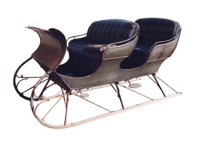A Portland Cutter sleigh made by the Kimball Bros. firm of Boston, Massachusetts.