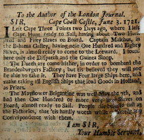 1721 newspaper article about slave ships.