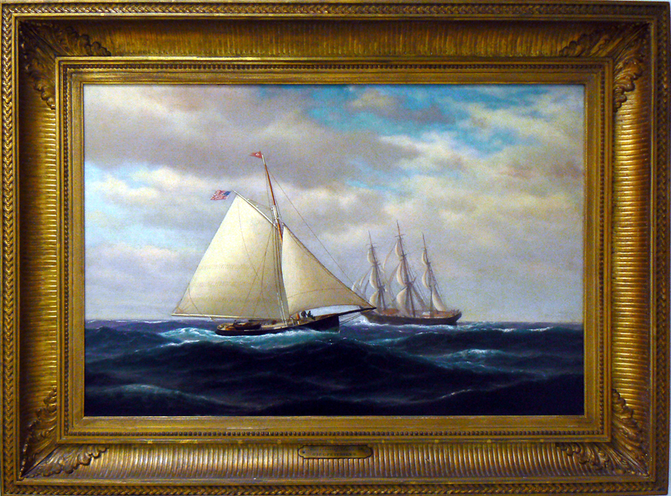 "A painting of the yacht ""Alice"" done in 1866 by J.E.C. Petersen."