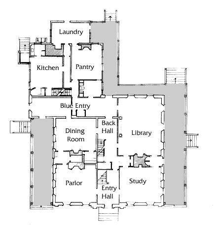 Plan of the first floor of the Vassall-Craigie-Longfellow House