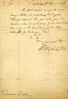 Manuscript letter dated Cambridge April 1776 and signed G Washington
