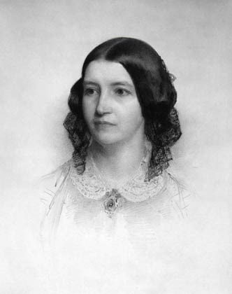 Chalk portrait of woman with lace collar and hair in curls