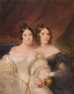 Double portrait of two young women, one in white and one in black
