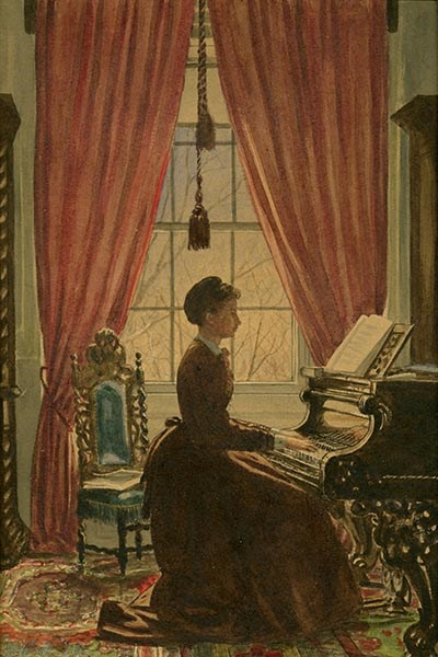 Watercolor of a young woman in long brown dress playing a piano in front of a window.