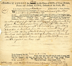 1769 court document detailing a suit brought by an ex-slave against his former owner.