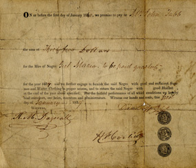 An 1839 contract for the hire of a slave girl.