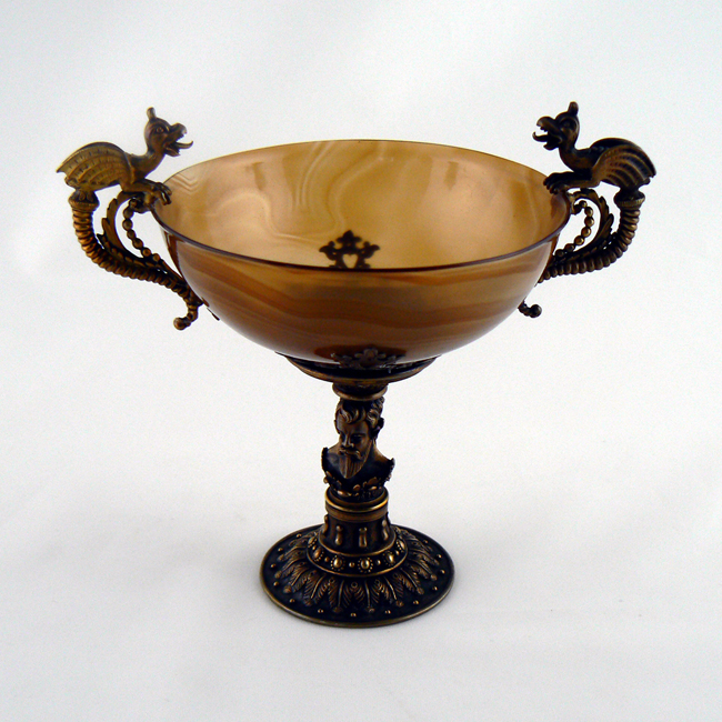 An agate and brass tazza that belonged to Henry Wadsworth Longfellow.
