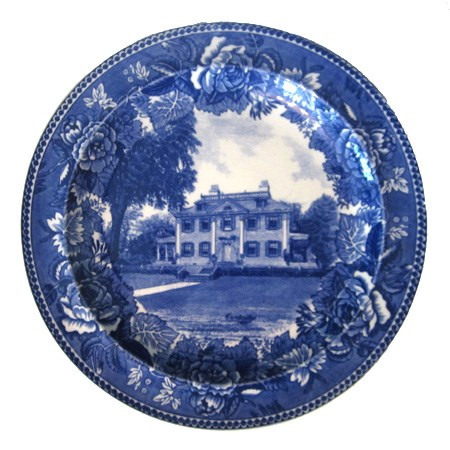 Blue and white plate showing Georgian mansion in center