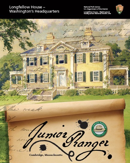 Front cover of the Junior Ranger book, with an image of the Longfellow House