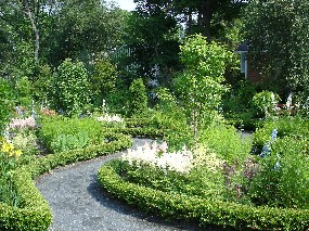 View of the garden at Longfellow National Historic Site.