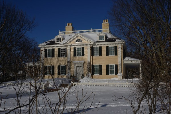 Mansion surrounded by newly fallen snow