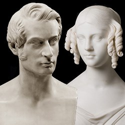 marble bust of man and woman