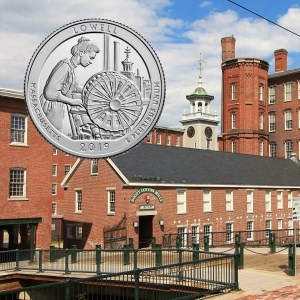 Boott Mills Complex with clocktower with inset image of the Lowell quarter