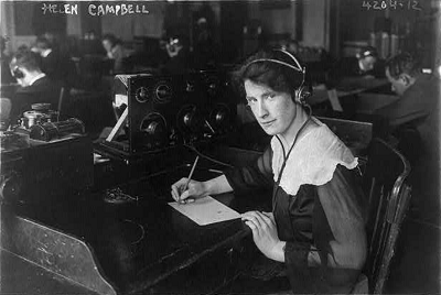 An historic image of a female telegraph operator in 1917