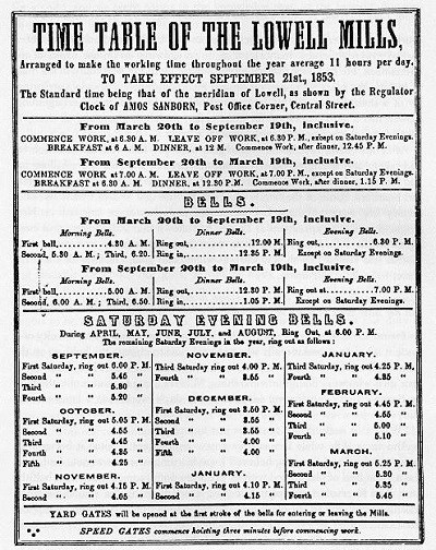 A 1853 time table for the mills in Lowell