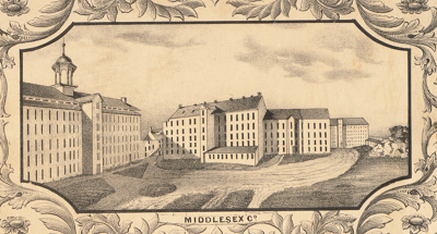 An 1850 illustration of the Middlesex Manufacturing Company in Lowell