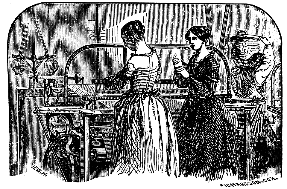 An Illustration of Two Mill Girls Working In A Factory