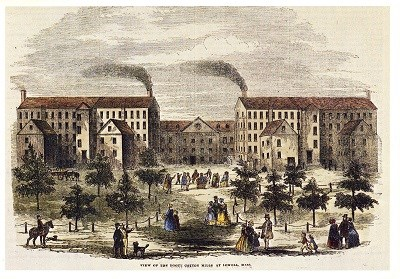 An illustration of the Boott Cotton Mills in the 1850s, featuring workers walking into the courtyard