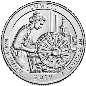 Reverse of Lowell quarter depicting a female worker at her loom with the Boott Mills clocktower visible through a window behind her