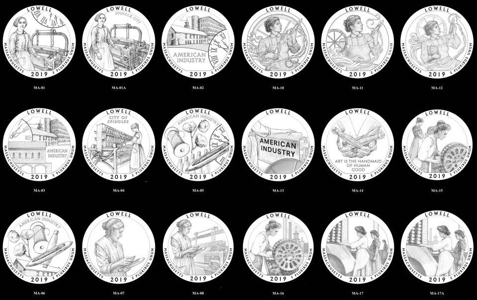 18 Reverse Designs for the Lowell Quarter