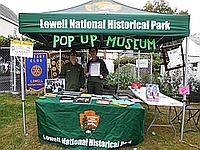 Lowell NHP's Tent and Rangers on location at a Popup Museum Event
