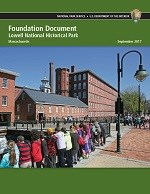 Cover of the Lowell NHP Foundation Document depicting students viewing the canal in front of the Boott Mill
