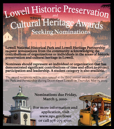 2010 Lowell Historic Preservation and Cultural Heritage Award Nominations